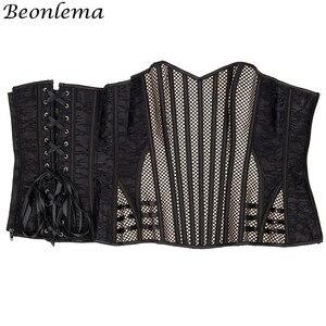 Image 4 - Beonlema corsé de malla Steampunk para mujer, corpiño de hueso de acero, corsé ajustado en la cintura, corpiño a rayas de albaricoque, corpiño de talla grande, corpiño para Overbust