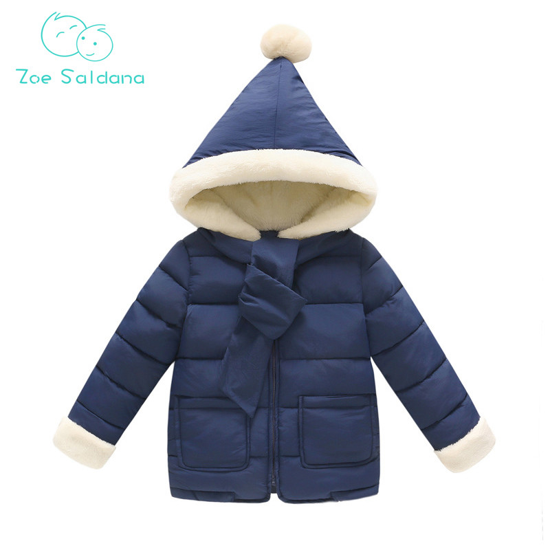 Zoe Saldana Unisex Coat 2017 New Winter Baby Girls Boys Clothes Down Cotton Thick Casual Parkas Kids Solid Scarf Hooded Coats children winter coats jacket baby boys warm outerwear thickening outdoors kids snow proof coat parkas cotton padded clothes