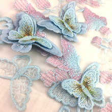 1Yard 3D Flower Embroidered Lace Fabric Tulle Trim For Girls Womens Dress Clothing Sewing Net French DIY Trims