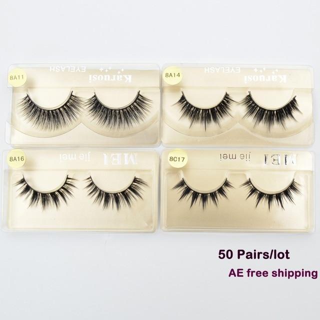 644e6728082 50 pairs/lot Wholesale Eyelashes faux mink lashes Handmade false eyelash 3D  strip mink eyelashes fake faux eyelashes Makeup