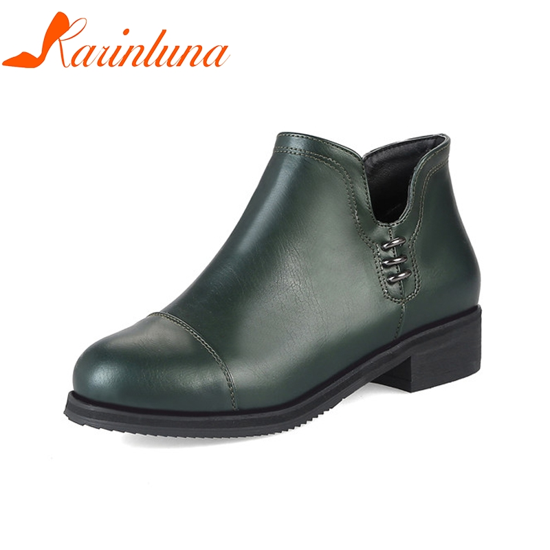 KARINLUNA New womens Ankle Round Toe Solid Zip Square Heels Shoes Woman Autumn Casual Boots Plus Size 32-48