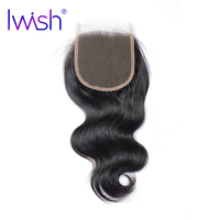 Iwish Brazilian Remy Hair Body Wave Swiss Lace Closure 4x4 Inch Free Part 100 Human Hair