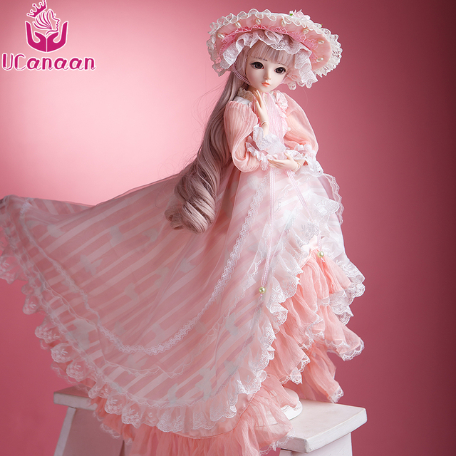 UCanaan 60CM BJD Dolls New Arrival SD Dolls With Outfit Elegant Dress Wigs Shose Hat Makeup Beautiful Dream Girls Toys KD Dolls 4