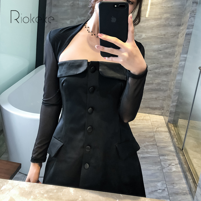 d0102521574 Riokeke-Sexy-Dingle-breasted-Femmes-Robe-Noir-Maille-Manches-Longues -Col-Carr-2018-Nouvelle-Taille-Haute.jpg