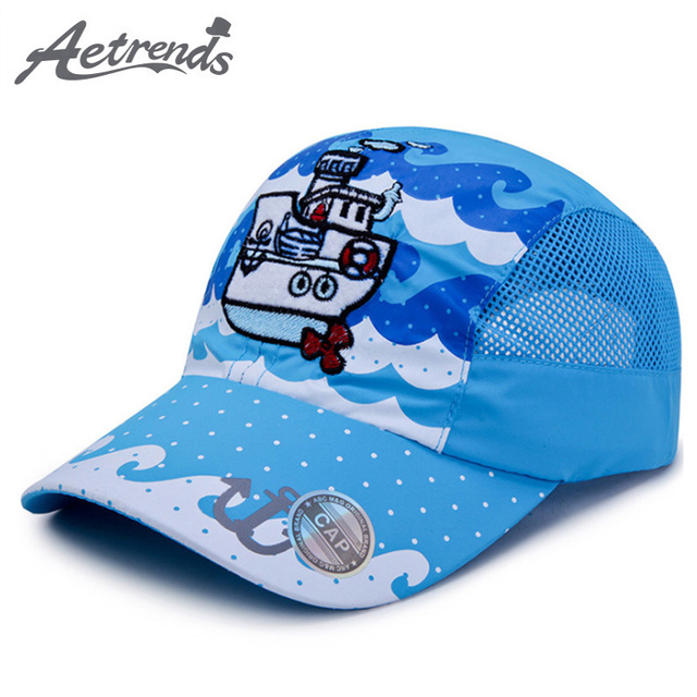 AETRENDS  1~3 Year Old Children Large Sizes Summer Mesh Blue baseball Cap  Kids Hat a Cap Snapback Hats for Boy Girl Z-6513 b9949ee1f49
