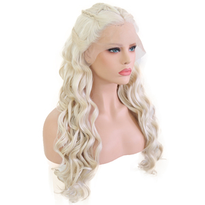 Image 4 - Bombshell Platinum White Hand Tied Synthetic Lace Front Braid Wig Heat Resistant Fiber Hair Middle Parting For White Women Wigs