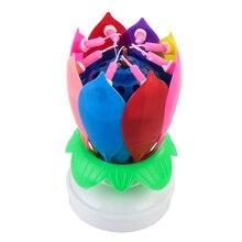 Инновационные вечерние Топпер для торта музыкальный цветок лотоса вращающийся с днем рождения свечи w/8 маленьких свечей