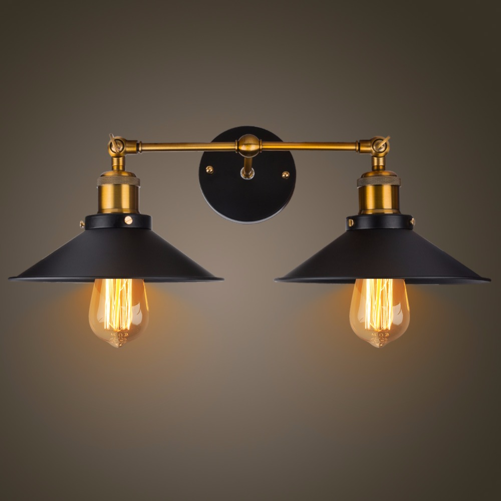 Modern Vintage Loft Metal Double Heads Wall Light Retro Brass Wall Lamp Country Style E27 Edison