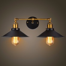 Modern Vintage Loft Metal Double Heads Wall Light Retro Brass Lamp Country Style E27 Edison Sconce Fixtures 110V/220V
