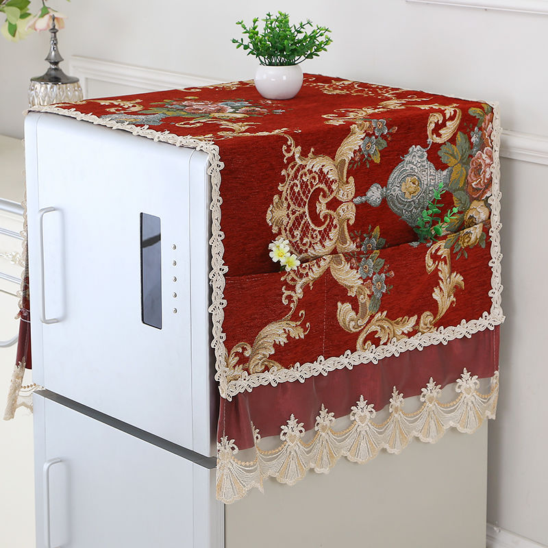 Fyjafon Refrigerator Covers Chenille Jacquard Weave Dust Cover Home Decor Dustproof Covers With Storage Bag 55*135/70*170
