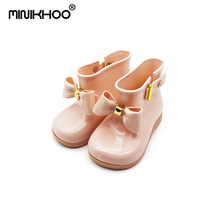 2017 Cute Mini Melissa Rain Boots Mini Sed'S Zapatos de arco Botas Baby Jalea Zapatos Girls Fashion Boots Slip Water Shoes Boots US 5-10