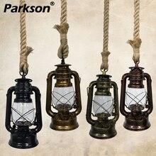 Винтажные керосиновые подвесные светильники E27 ретро пеньковая веревка подвесной светильник Промышленный Лофт для Decoracion бар столовая Подвесная лампа