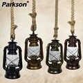 خمر الكيروسين قلادة أضواء E27 الرجعية حبل القنب مصباح معلق لوفت الصناعية للديكور بار غرفة الطعام قلادة مصباح