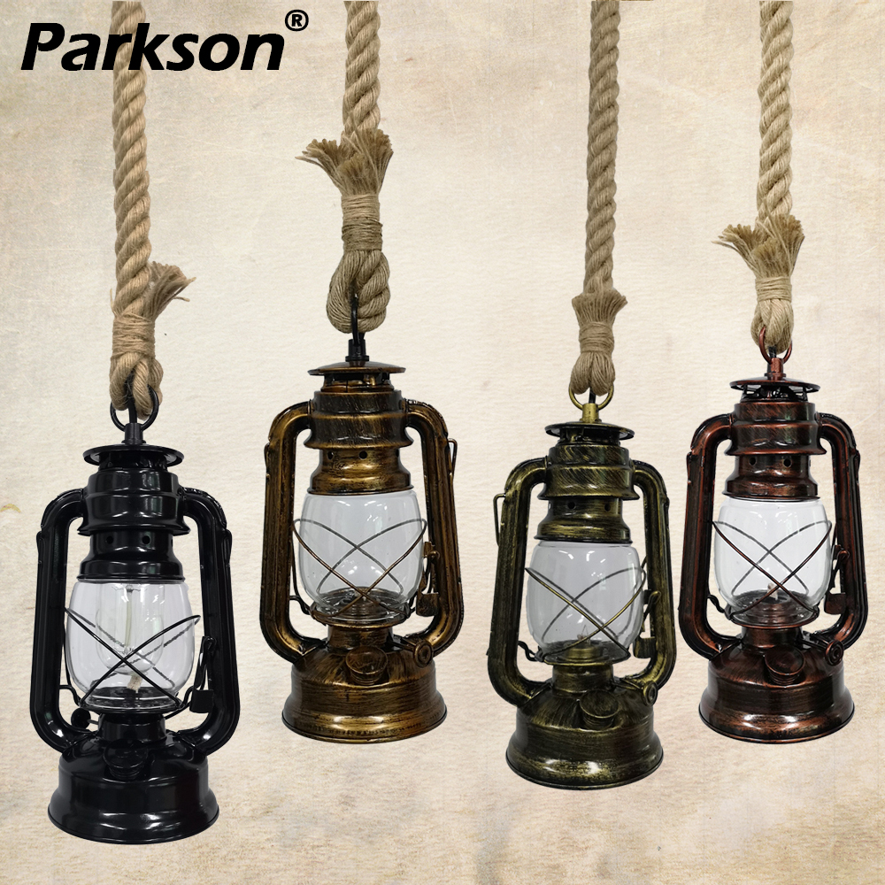 Vintage Kerosene Pendant Lights E27 Retro Hemp Rope Hanging Lamp Industrial Loft For Decoracion Bar Dinning Room Pendant Lamp