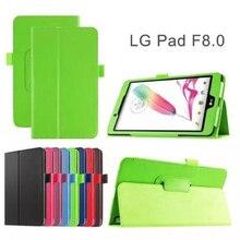Ocube Soporte Protector de la Cubierta Del Grano Del Lichí Folio PU Funda de Cuero de Lujo cubierta Para LG GPad G Pad F 8.0 V495 V496 Tablet