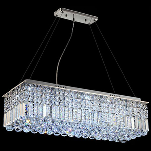 Image 5 - LED מודרני מלבני קריסטל נברשת אור תליון מנורת תליית סלון אוכל חדר מסעדת קישוט