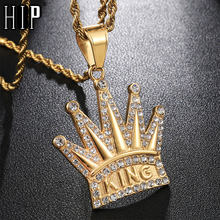 HIP Hop Full AAA Iced Out Bling Cubic Zircon Crown KING CZ Cubic Zircon Stainless Steel Necklaces & Pendants for Men Jewelry(China)