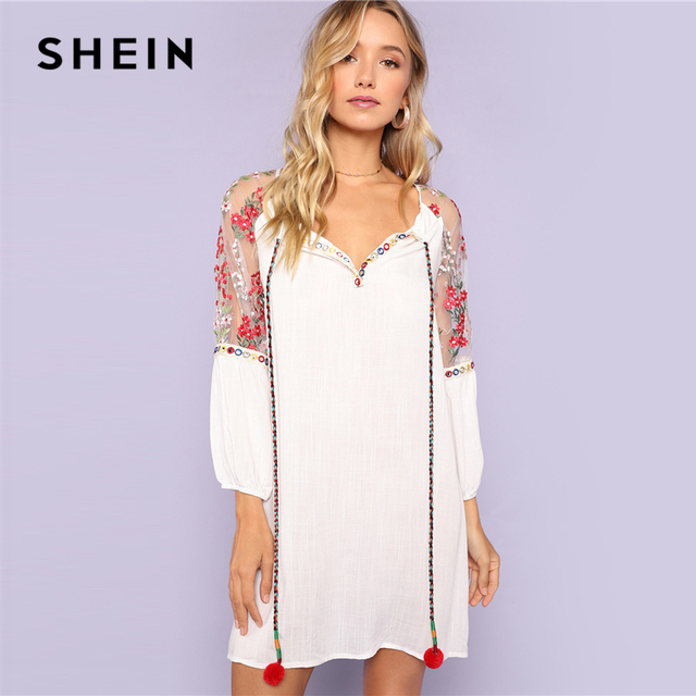 SHEIN White Women Pom Pom Tie Neck Embroidered Mesh Raglan Sleeve Dress  Shift Straight Clothes Summer Tunic Rayon Dress 62a3023d6b
