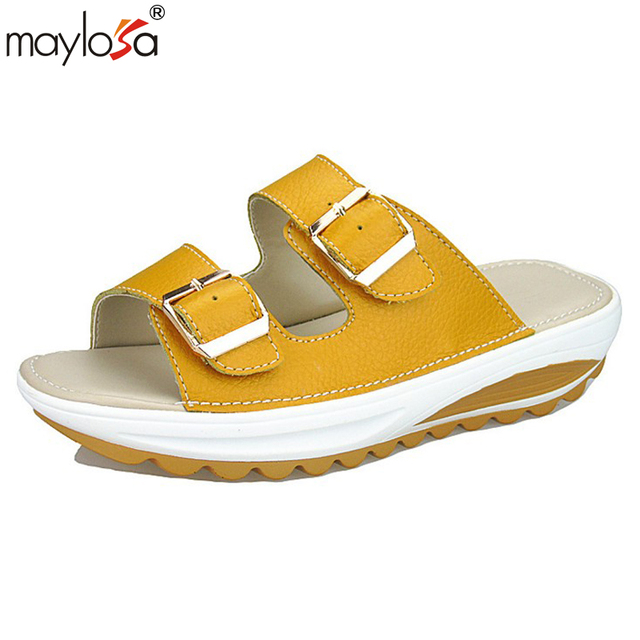 MAYLOSA Genuine Leather Slides Summer Style Shoes Womens Orthotic Sandals  Cork Slippers Slip-on Casual Classics Flip Flop Shoe c32cb714f