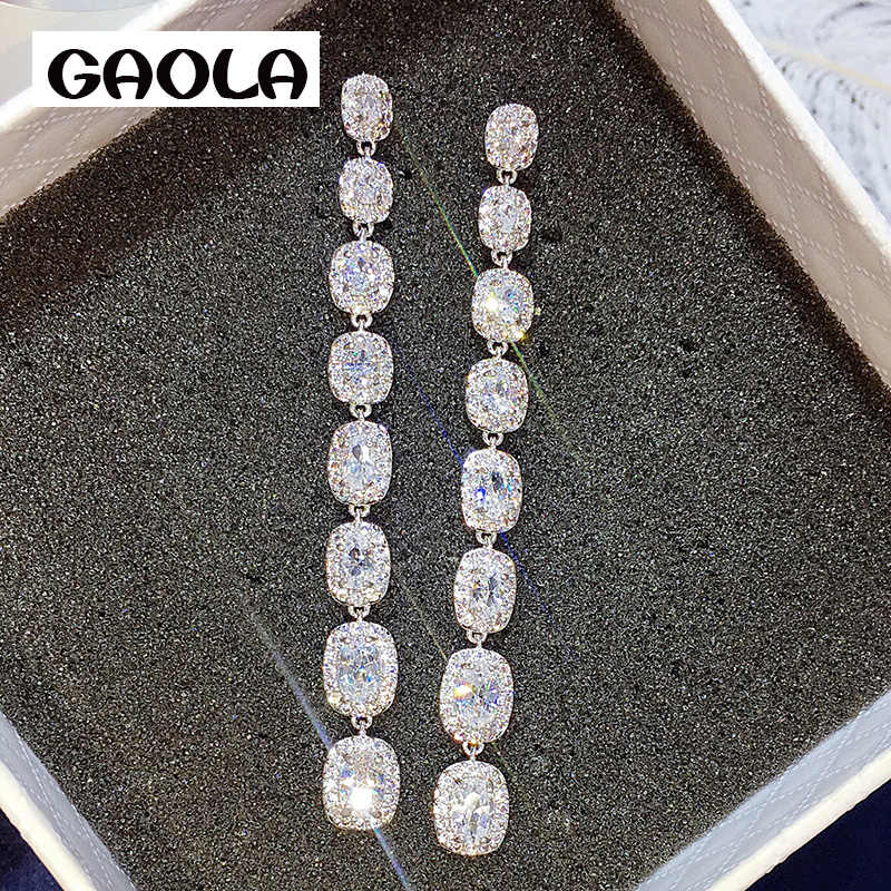 GAOLA Long Square Clear Cubic Zircon Bridal Jewelry Dangle Earrings Women Luxury Jewelry GLE7056Y