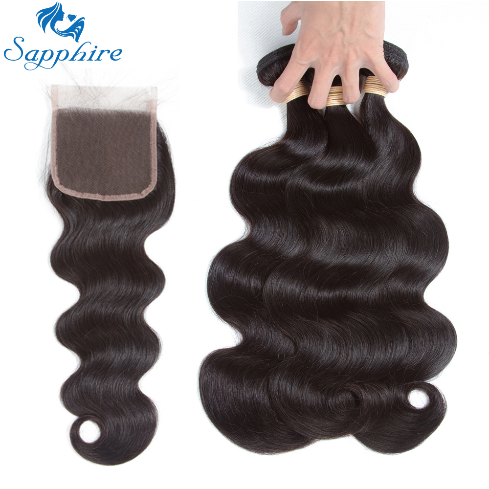 Sapphire Peruvian Body Wave 2 3PCS Human Hair Bundles With Lace Closure Body Wave Hair Extension
