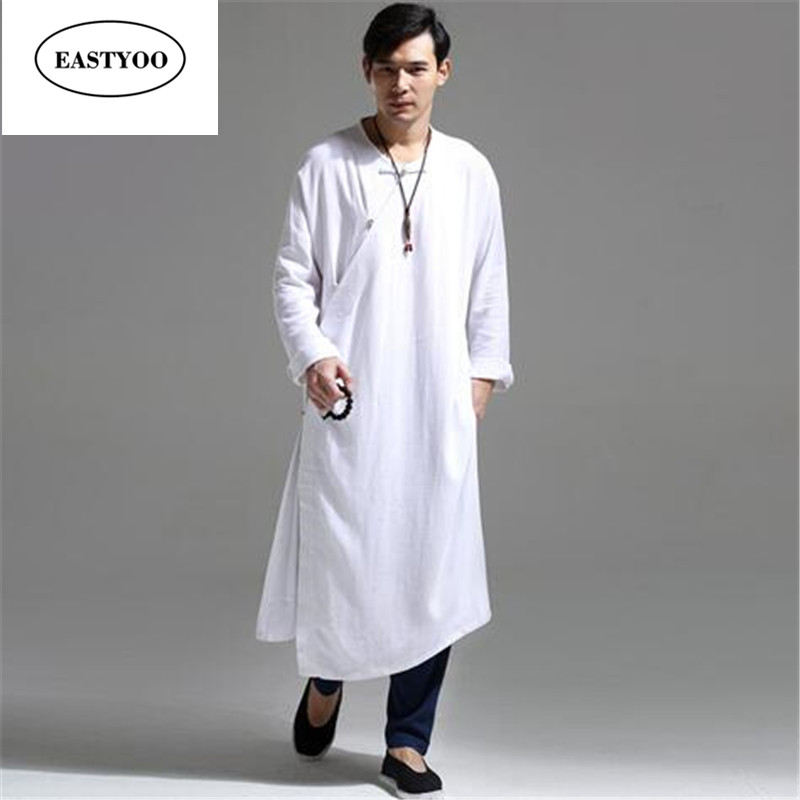 Long Dress Men Cotton Linen White Monk Robes Plus Size Beige White Jubba Thobe Mandarin Collar Long Dress Men Hanfu