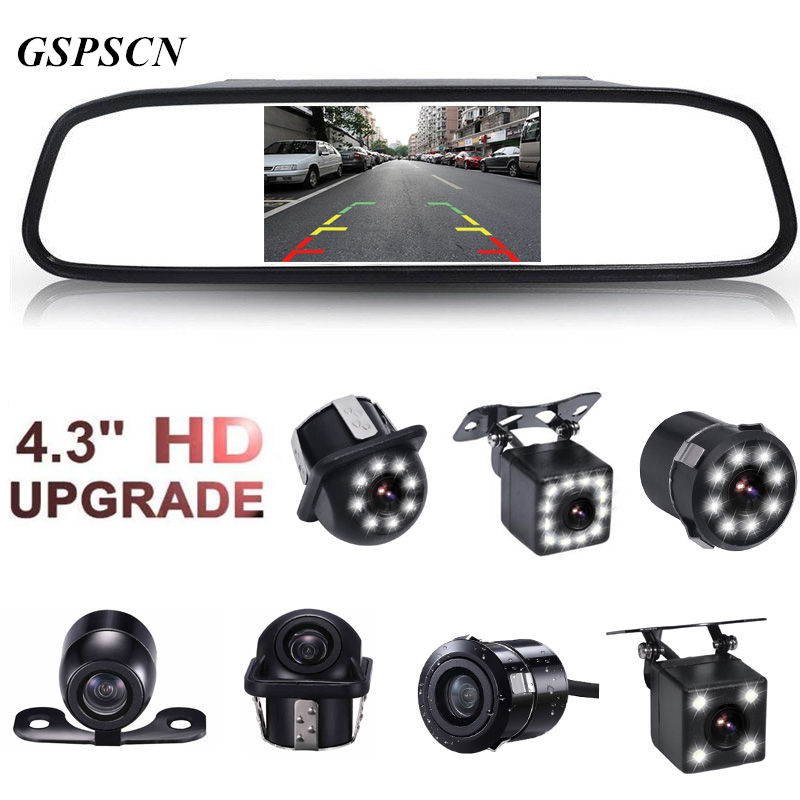 Car Parking Monitors CCD HD Waterproof 12LED Night Vision Car Rear View Backup Camera With 4.3 inch Car Rearview Mirror Monitor
