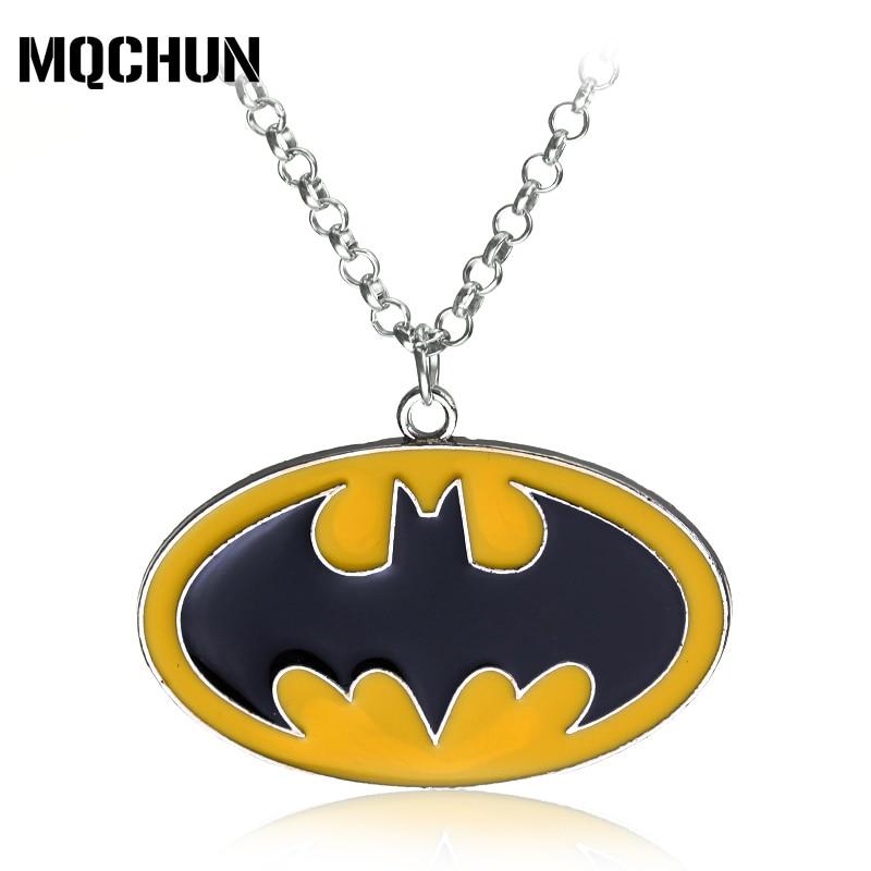 Мода Бат человек супергероя Chocker Ожерелья для мужчин желтый Бэтмен Логотип Подвески Горячая фильм ювелирные изделия Интимные аксессуары дл... ...