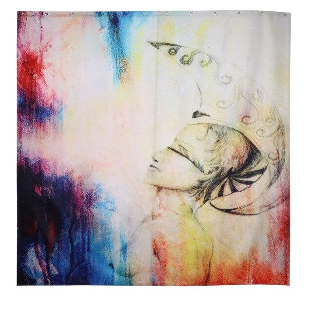 abstrakte malerei vorhang wasserdicht dusche vorhnge stoff kreative landschaft bad vorhang mit haken - Stoff Vorhang Dusche