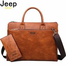 JEEP BULUO Hohe Qualität Männer Aktentaschen Set Für 14 zoll Laptop Business Taschen Handtaschen Leder Büro Schulter Taschen Große Kapazität