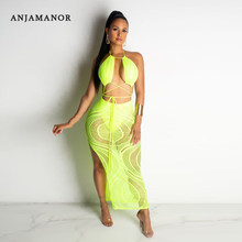 ANJAMANOR Neon Green Hollow Out Lace Sexy Dresses Summer Beach Party Night Clubwear Halter Backless Split Maxi Dress D91-AC49(China)