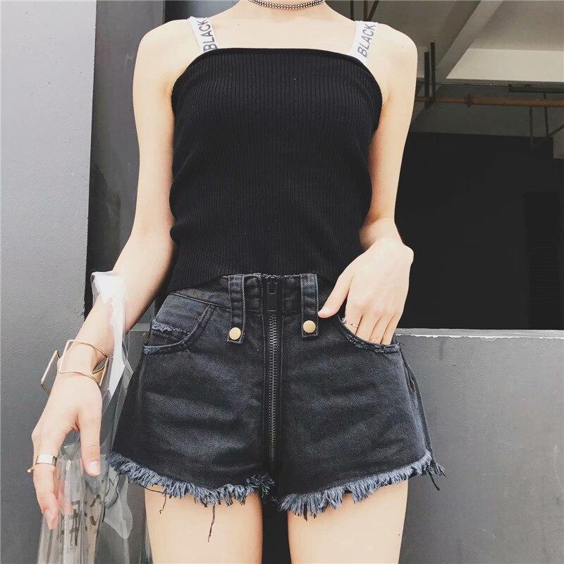 18 summer new thin sexy fringed front and rear zipper short hot shors women, was wearing thin raw high waist denim shorts female