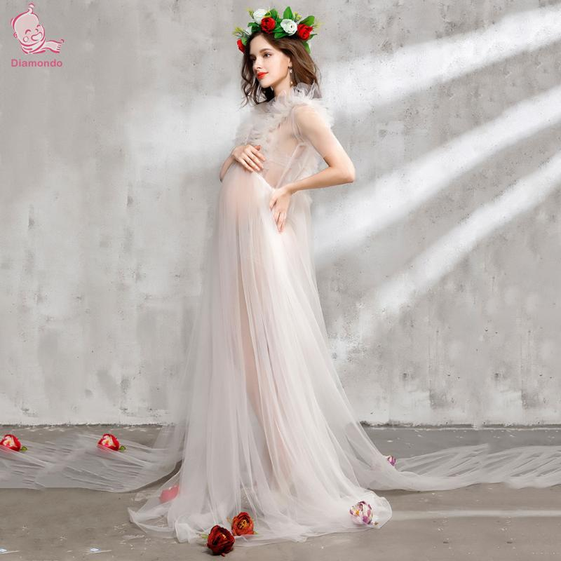 Maternity Photography Props Set Romantic Floral Mullet Dress Pregnancy Romantic Lace Dress Headwear Veil Photo Shooting Dress