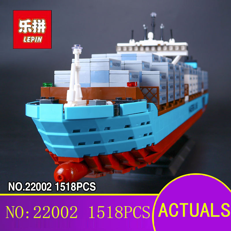 New Lepin 22002 Genuine Technic Series The Maersk Cargo Container Ship Set 10241 Building Blocks Bricks Educational Boy Toys цена