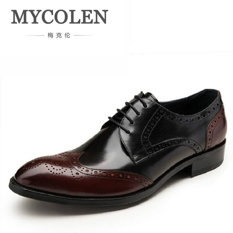 MYCOLEN British Style Bullock Carving Men Formal Shoe Pointed Toe Lace Up Leather Dress Business Low Shoes Flats Oxford Shoes cunddio new product low to help bullock restoring ancient ways genuine leather british the stylist pointed men s shoes 38 46