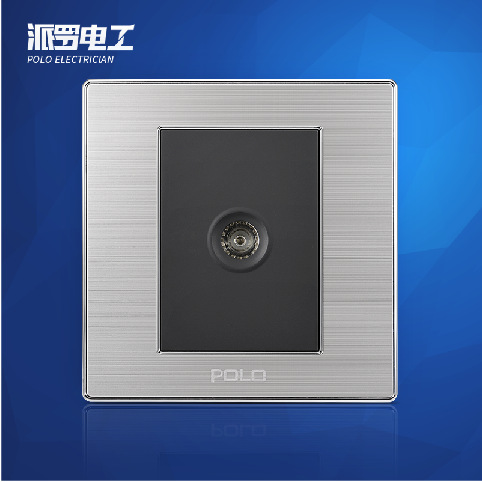Free Shipping, POLO Luxury Wall Light Switch Panel, TV Socket, Champagne/Black, Electric Socket, 10A, 110~250V, 220V 1 piece free shipping anodizing aluminium amplifiers black wall mounted distribution case 80x234x250mm