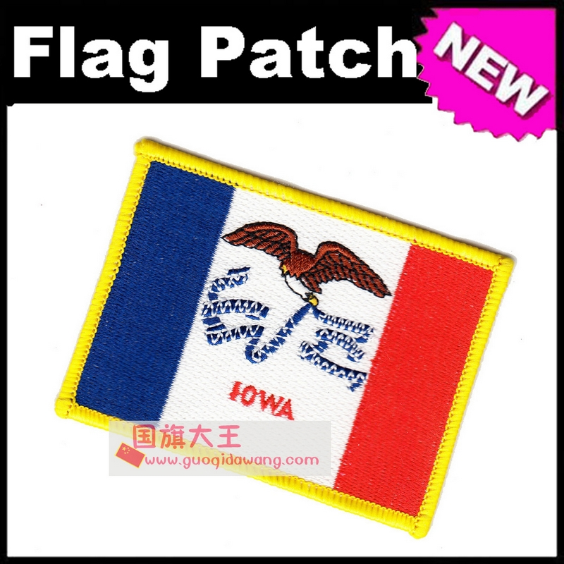 Iowa Flag Embroidery Patches The United States of America USA State Iron on FULL Embroidery
