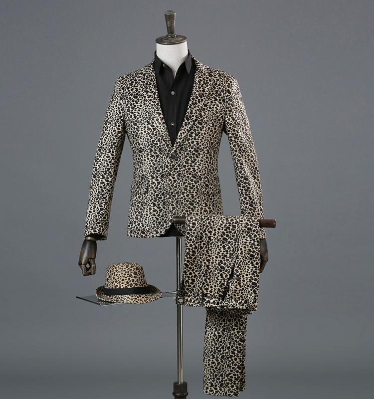 New Men Leopard Formal Dress Blazer 2PCS Suits Trousers Jacket Pants One Button Male Set
