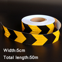 50mx5cm Black&Yellow Arrow Reflective Strips Glue Stickers For Car Styling Motorcycle Automobiles Decoration Safety Warning Tape
