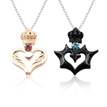 e08ae770c8 1pcs His & Hers Stainless Steel Couples Gift King Queen Crown Pendant Love  Heart Crystal Necklace