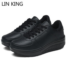 Купить с кэшбэком LIN KING Plus Size 43 Women Casual Height Increasing Shoes Comfortable Lace Up Walking Wedges Trainers Platlform Swing Shoes