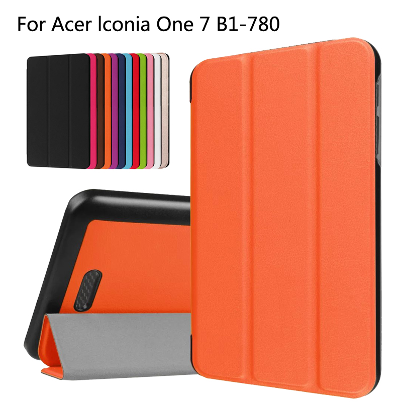 Slim Magnetic Folding Flip PU Case Cover For Acer Iconia One 7 B1-780 B1 780 7.0 inch Tablet Skin Case slim print case for acer iconia tab 10 a3 a40 one 10 b3 a30 10 1 inch tablet pu leather case folding stand cover screen film pen