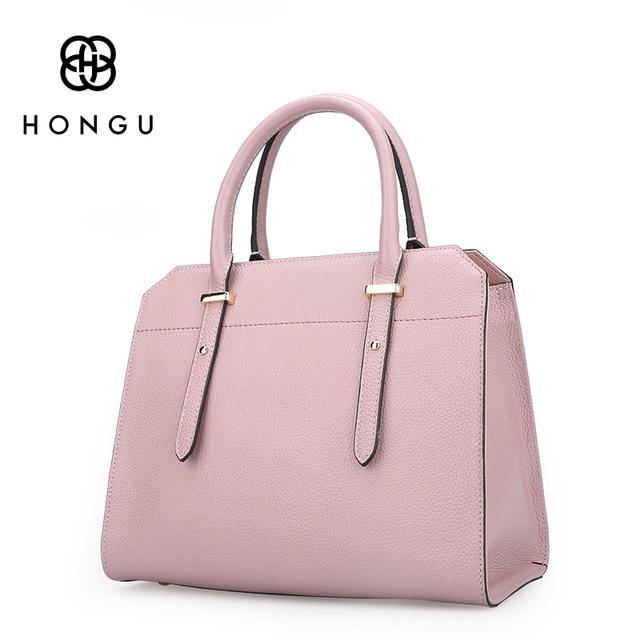 HONGU Famous Brands Design Cowhide Genuine Leather Bags Women Handbags Shoulder Versatile Bags Tote Embossed Boston Fashion 2017