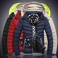 2016 Marca Novos Homens Jaqueta de Inverno Casacos Amassado Moda Outerwear Dos Homens Casuais Para Baixo Algodão Ao Ar Livre Jaqueta Masculina 4XL 5XL