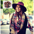 Women Big Size Cashmere Type Tartan Plaid Scarf Thick Basic Wrap Shawl Christmas Gift WJ002
