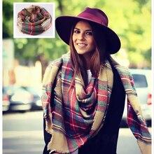 Women Big Size Cashmere Type Tartan Plaid Scarf Thick Basic Wrap Shawl Christmas Gift WJ002