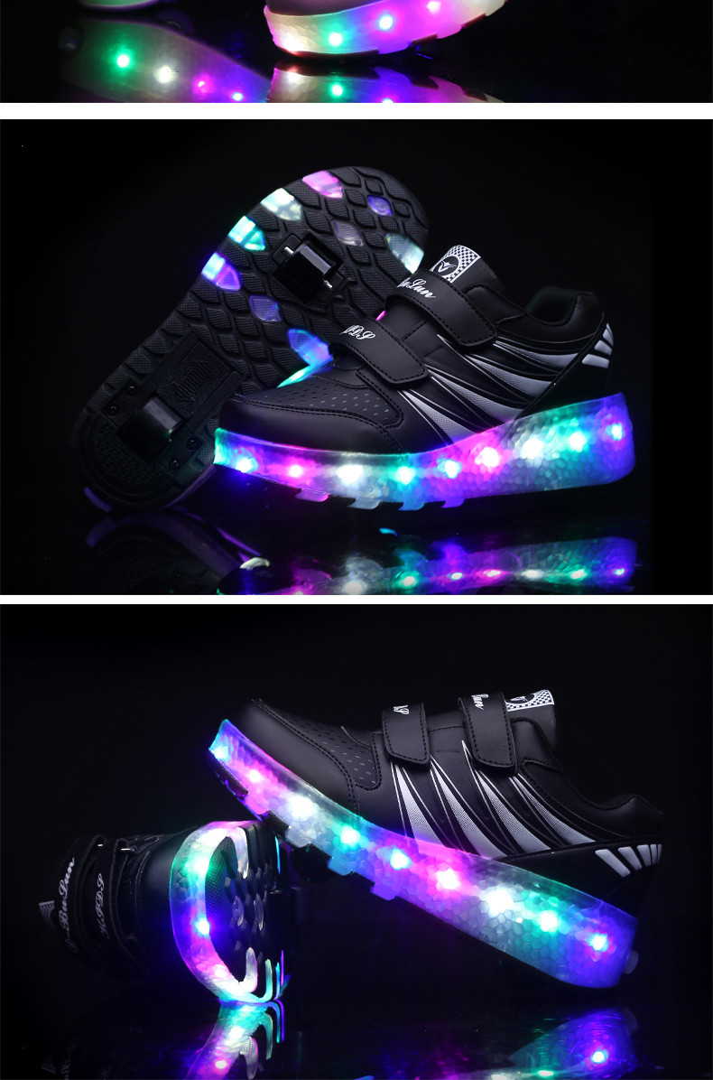 2017 Child Girls Boys Roller Skate Shoes LED Light Black Pink Children Glowing Sneakers With Wheels For Kids tenis de rodinha6
