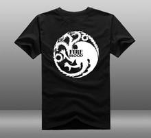 Mens Casual Game of throne House Targaryen Logo T shirts Print 100 Cotton Short Sleeve O