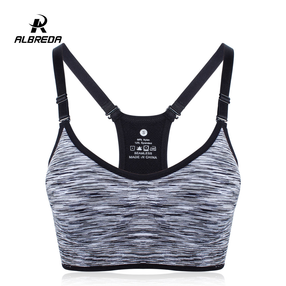 ALBREDA Women Fitness Yoga Sports Bra for Running Gym Straps Padded Top Athletic Vest Quick Dry Sport bra for women 5 colors