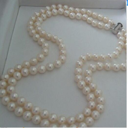 Women Gift Freshwater Fashion 2 Rows 7-8MM Cultured Shell Pearl Necklace Jewelry Rope Chain Bead